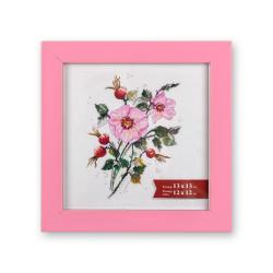 Розовый, рамка пластиковая с оргстеклом 13х13см