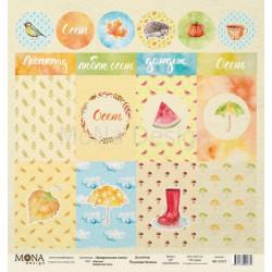 Карточки из коллекции Акварельная осень, лист односторонней бумаги 30х30см, 190гр/м MoNa design