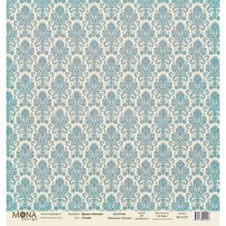 Дамаск синий из коллекции Базовая дамаск, лист односторонней бумаги 30х30см, 190гр/м MoNa design