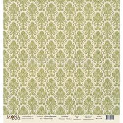 Дамаск оливковый из коллекции Базовая дамаск, лист односторонней бумаги 30х30см, 190гр/м MoNa design