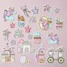 Розовый единорог, набор высечек для скрапбукинга 22шт. MoNa design
