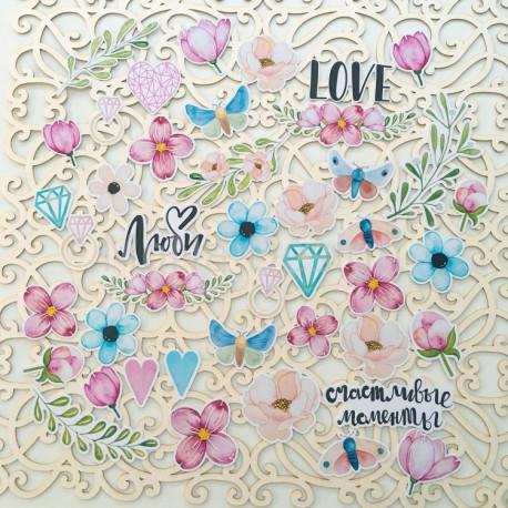 Love is in the air, набор высечек для скрапбукинга 43шт. MoNa design