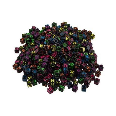 Алфавитный коктейль черный, бусины пластик 6 мм, 100гр, Zlatka