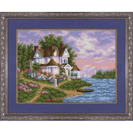 Дом моей мечты, ткань с рисунком для вышивки бисером 39,5х27см. Благовест