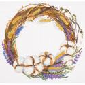 Венок с лавандой и хлопком, набор для вышивания крестиком, 35х33,5см, 32цвета Panna