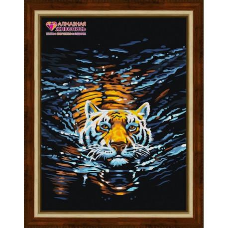 Плывущий тигр, набор для изготовления картины стразами 30х40см 18цв. полная выкладка, АЖ