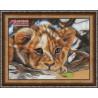 Львенок, набор для изготовления картины стразами 40х30см 23цв. полная выкладка, АЖ