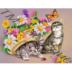 Котики, ткань с рисунком для вышивания бисером 17х12см 18цв. Наследие