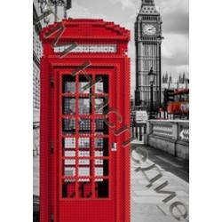 Телефонная будка, ткань с рисунком для вышивания бисером 17х12 см 8цв. Наследие