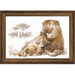Львиный рай, набор для вышивания крестиком, 60х40см, мулине хлопок Anchor 17цветов Риолис