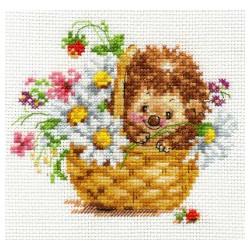 Ёжик в ромашках, набор для вышивания крестиком, 13х11см, 20цветов Алиса