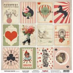 Клоунада Старый цирк, лист односторонней бумаги 30х30см, 190гр/м