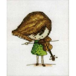 Скрипачка, набор для вышивания крестом 7х9см мулине Finca 10цв. канва Linda 27ct Neocraft