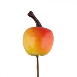 Яблоко желтое на веточке, декоративный элемент для флористики 2см, 6шт. Blumentag