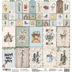 Карточки из коллекции Теплая зима, лист односторонней бумаги 30х30см, 190гр/м MoNa design