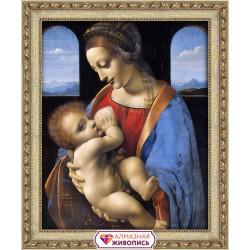 Мадонна Литта, набор для изготовления картины стразами 40х50см 59цв. полная выкладка, АЖ