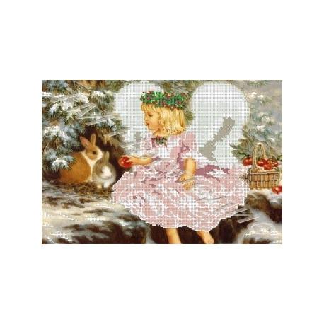 Ангел с яблоками, набор для вышивания бисером 38х26см Наследие