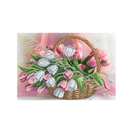 Тюльпаны, набор для вышивания бисером 38х25см Наследие