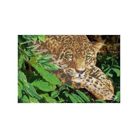 Леопард, набор для вышивания бисером 38х25см Наследие