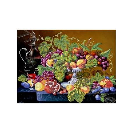 Натюрморт с виноградом, набор для вышивания бисером 38х26см Наследие