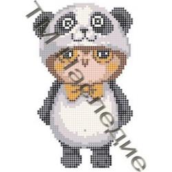 Совушка в костюме панды, ткань с рисунком для вышивания бисером 17х12см 9цв. Наследие
