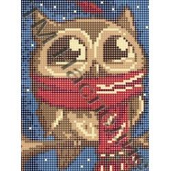 Совушка в шарфе, ткань с рисунком для вышивания бисером 16х12см 9цв. Наследие