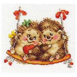 На качелях, набор для вышивания крестиком, 14х13см, 20цветов Алиса
