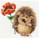 Ёжик с маком, набор для вышивания крестиком, 14х13см, 19цветов Алиса