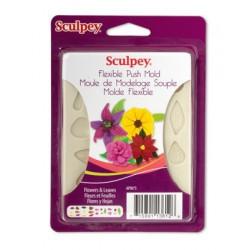 Flowers and Leaves, Flexible Push Mold гибкая форма для слепков, Sculpey