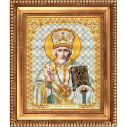 Николай Чудотворец в белом одеянии, ткань с рисунком для вышивки бисером 13,5х16,5см. Благовест