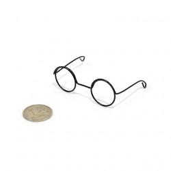 Очки без стекла, черные диаметр 2см круглые, металл