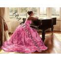 Девушка у рояля, набор для изготовления мозаики круглыми стразами 20х24см 4цв. частичная выкладка