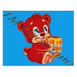 Медвежонок с медом, набор для изготовления мозаики круглыми стразами 10,5х14,5см 6цв. полн. выкладка