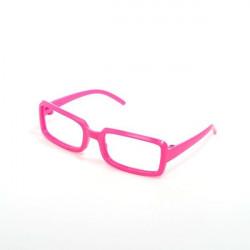 Очки без стекла, розовые 8см прямоугольные, пластик