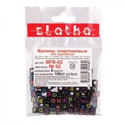 Черные/цветные буквы (англ. алфавит), бусины пластик 6мм, 100шт, Zlatka