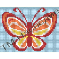 Бабочка, набор для изготовления мозаики круглыми стразами 10,5х14,5см5 цв. полная выкладка