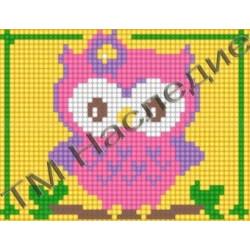 Совушка, набор для изготовления мозаики круглыми стразами 10,5х14,5см 6цв. полная выкладка