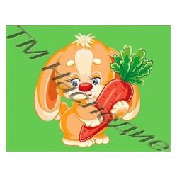 Зайка с морковкой, набор для изготовления мозаики круглыми стразами 10,5х14,5см цв. полная выкладка