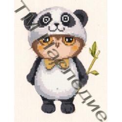 Сова-панда, набор для изготовления мозаики круглыми стразами 20х24см 9цв. частичная выкладка