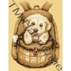 Рюкзачок со щенком, набор для изготовления мозаики круглыми стразами 20х24см 7цв. частичная выкладка