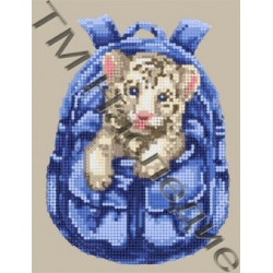 Рюкзачок с тигренком, набор для изготовления мозаики круглыми стразами 20х24см 11цв. частич.выкладка
