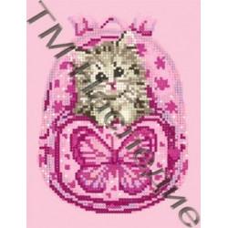 Рюкзачок с котенком, набор для изготовления мозаики круглыми стразами 20х24см 10цв. частичн.выкладка