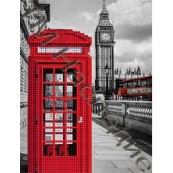 Телефонная будка, набор для изготовления мозаики круглыми стразами 20х24см 9цв. частичная выкладка