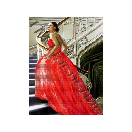 Девушка в красном, набор для изготовления мозаики круглыми стразами 20х24см 3цв. частичная выкладка