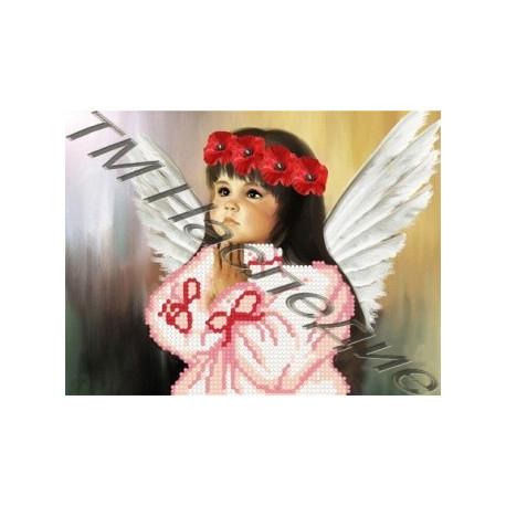 Девочка-ангел, набор для изготовления мозаики круглыми стразами 20х24см 4цв. частичная выкладка