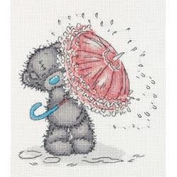 Tatty Teddy  с зонтиком, набор для вышивания крестиком, 17,5х14см, 10цветов Кларт