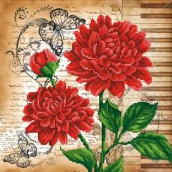 Красные цветы, канва для вышивки бисером МП-студия
