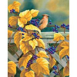 Птица в винограднике, канва для вышивки бисером МП-студия