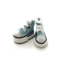 Кеды бирюзовые на шнурках, длина стопы 3,9см высота 3см. Кукольная обувь