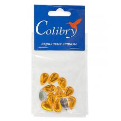 Желтый каплевидные, стразы акриловые пришивные, 8х13мм, 12шт. Colibry